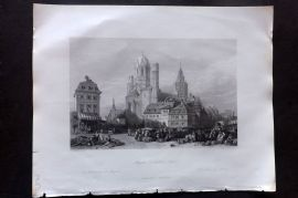Fisher (Pub) 1844 Antique Print. Mayence Cathedral, Rhine, Germany
